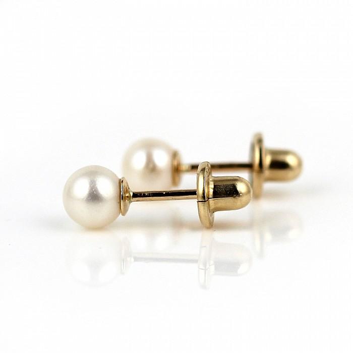 323a3f3fe Zlaté detské náušnice s perlou Barunka | LEOLA.sk